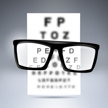 Vector test alphabet with glasses. stock vector