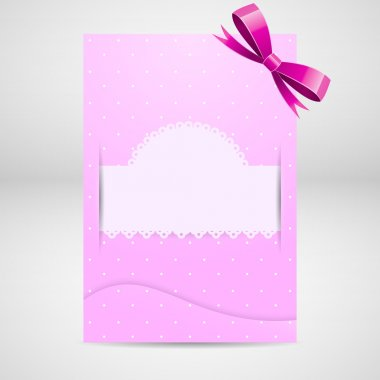 Pink greeting card with bow. stock vector