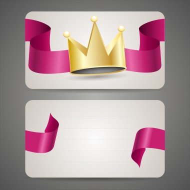 Business card with crown and ribbon. stock vector