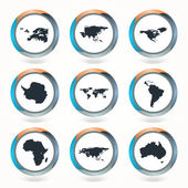 Set of vector globe icons showing earth with all continents. Vector illustration.