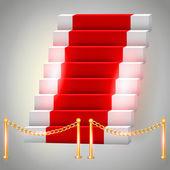 Vörös szőnyegen a lépcsőn. Vektoros illusztráció