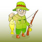 Halász rúd spinning és a halak. Vektoros illusztráció