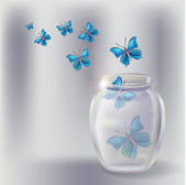 Glass jar with butterflies. Vector illustration