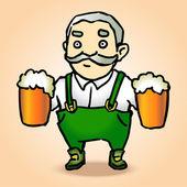Karikatur Oktoberfestmann mit Bier. Vektorillustration