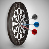 Colorful darts hitting a target. Success concept. Vector illustration