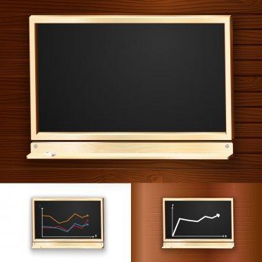 Blackboard on wooden background. Vector illustration. stock vector