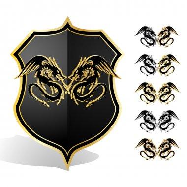 Heraldic dragon shield. Vector illustration