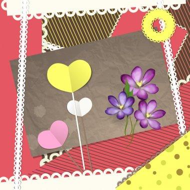 Retro scrapbooking elements, Valentine card. Vector illustration stock vector