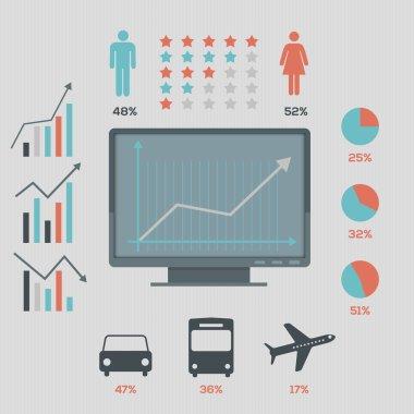 Social network infographics set, retro style design. Vector illustration stock vector