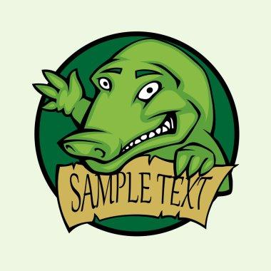 Happy dinosaur tag. Vector illustration stock vector