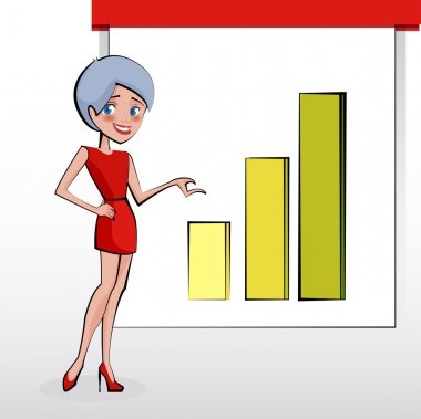 Beautiful business woman pointing to rising business trends. Vector stock vector