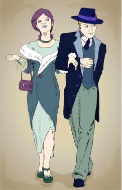 Couples - Retro-Style Illustration. Vector stock vector
