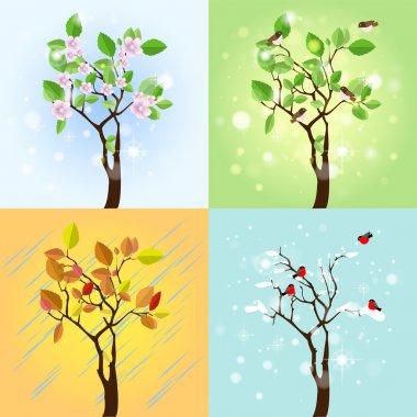 Four Seasons Tree. Vector stock vector