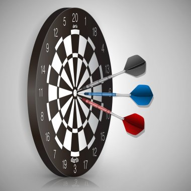 Colorful darts hitting a target. Success concept. Vector illustration stock vector