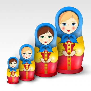 Traditional matryoschka dolls,  vector illustration stock vector