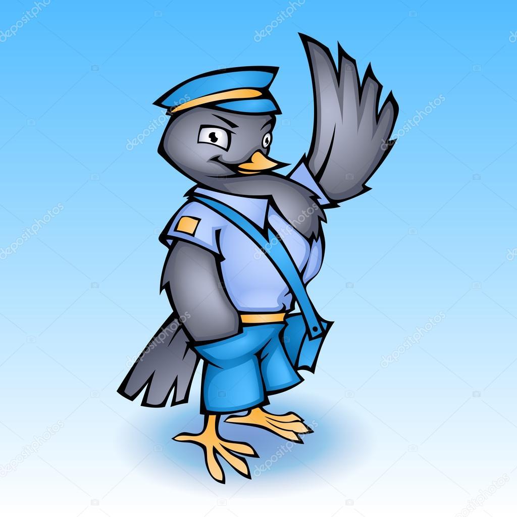 Cartoon postman pigeon. Vector illustration stock vector