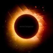 Solar eclipse. Illustration on black background for design