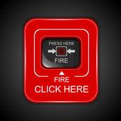 Tűz piros riasztás, vektoros illusztráció
