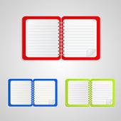 Barevný zápisník sada, vektorové ilustrace