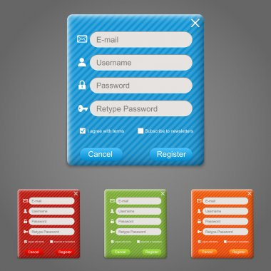 Web registration form set. Vector stock vector