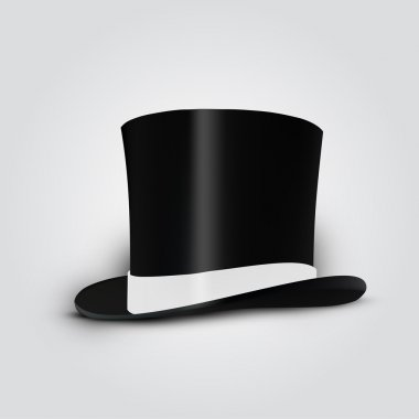 Black cylinder hat with white ribbon. Vector Illustration. stock vector