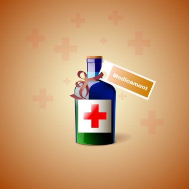 Medicine Bottle With Cross stock vector