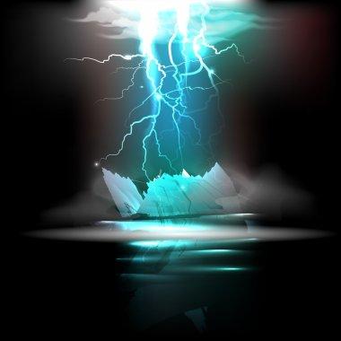 Lightning in the night. Vector illustration stock vector