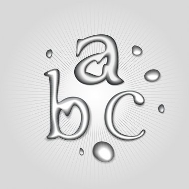 Vector water letters A, B, C. stock vector