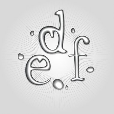 Vector water letters D, E, F. stock vector