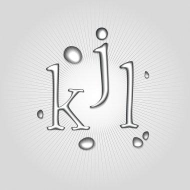 Vector water letters K, J, L. stock vector