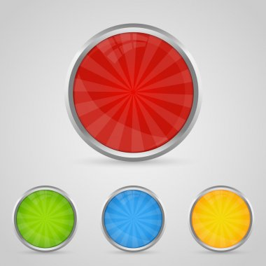 Set of colored buttons with chrome stroke stock vector