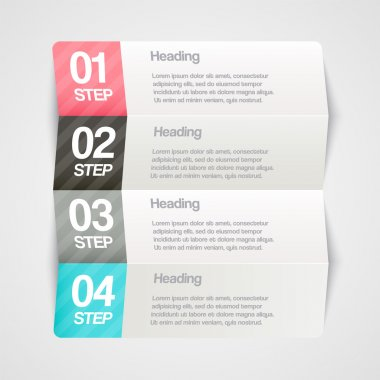 Vector paper progress steps for tutorial stock vector