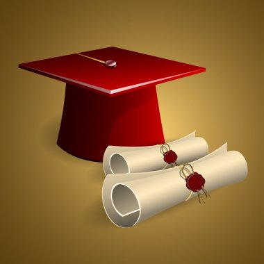 Graduation cap and diplomas stock vector