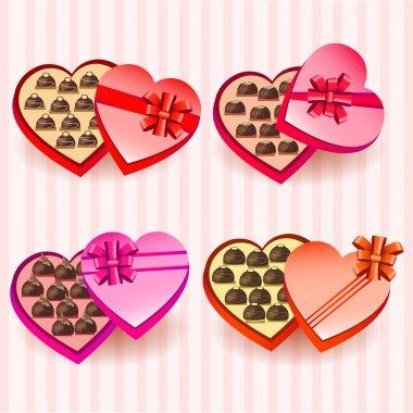 Set of heart valentine chocolates boxes stock vector