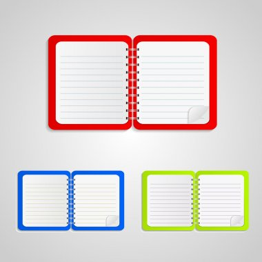 Colored notebook set,  vector illustration stock vector