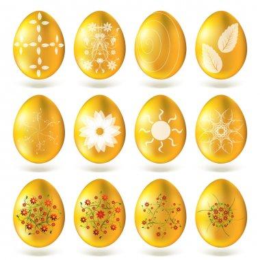 Golden eggs set isolated on white background. stock vector