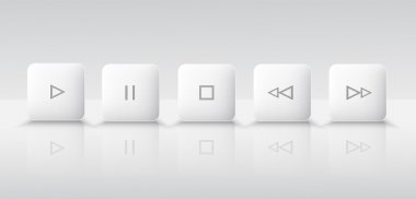 Five white media player buttons stock vector