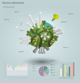 Infographics Industrial buildings and residential areas. Vector illustration.