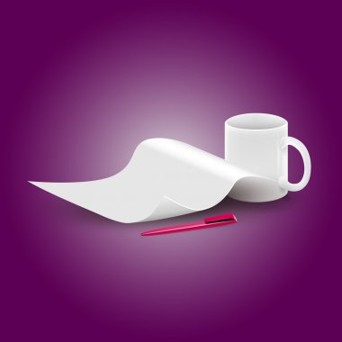 Vector piece of paper and a cup stock vector