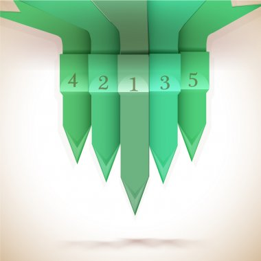 Green numbered arrows,  vector illustration stock vector