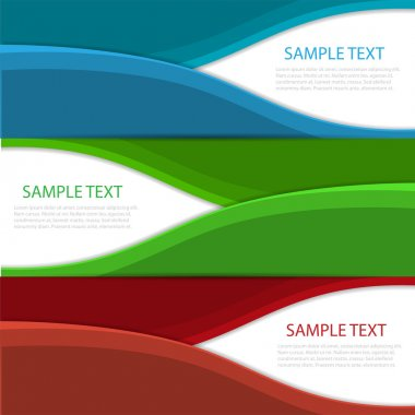Collection banners modern wave design, colorful background. stock vector