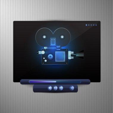 Media video black player stock vector