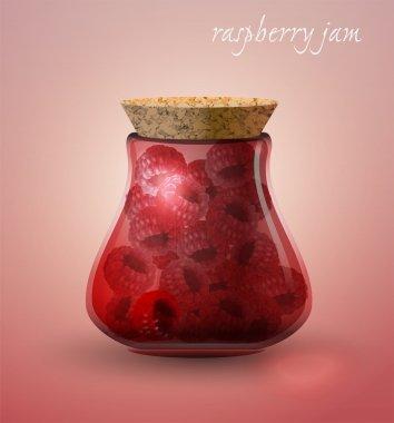 Raspberry jam. Vector illustration.