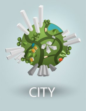 Earth with city. Vector concept. stock vector