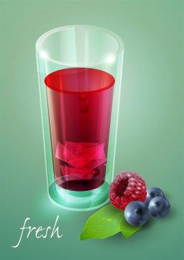 Glass of fresh berry juice. Vector illustration. stock vector