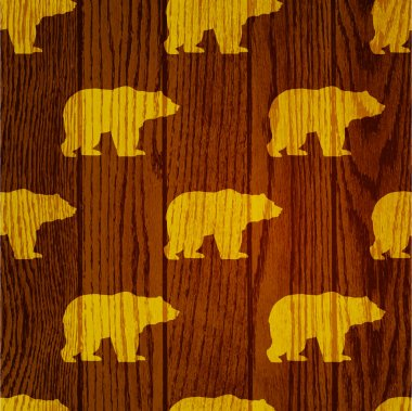 Bear wooden background - vector illustration stock vector