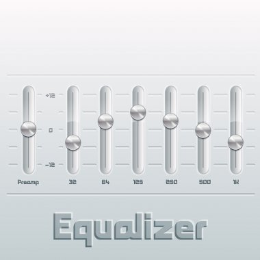 Music equalizer with mixing console. stock vector