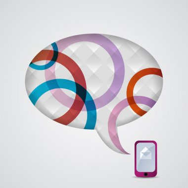 Mobile phone and speech bubble. stock vector