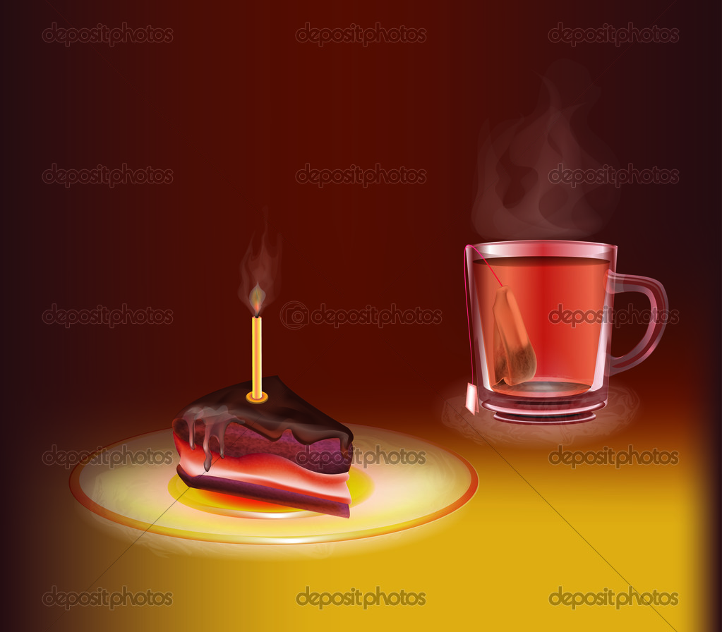 Cup of tea with a piece of cake stock vector