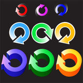 Satz von runden farbigen Pfeilen Logos. Vektor